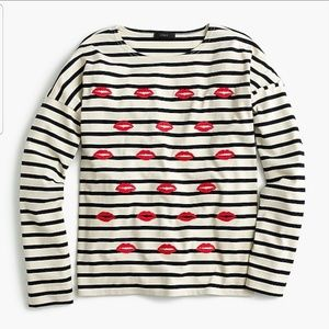 Jcrew embroidered lip striped long sleeve shirt